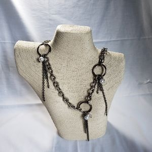 Vintage 90s Pearl's and Metal Industrial Necklace
